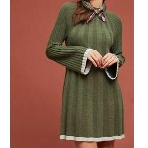 Anthropologie olive green mock neck sweater dress